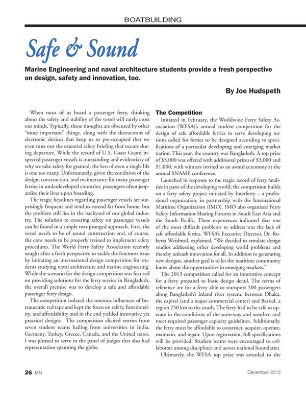 Marine News Magazine, page 26,  Dec 2013 Canada