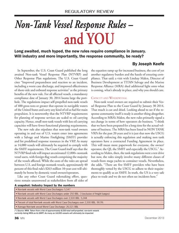 Marine News Magazine, page 36,  Dec 2013 oil