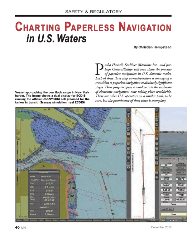 Marine News Magazine, page 40,  Dec 2013 New York Harbor