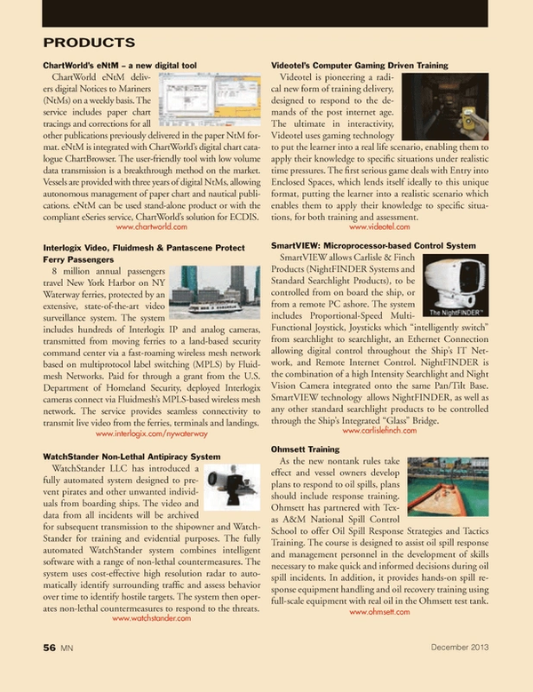 Marine News Magazine, page 56,  Dec 2013 gaming technology