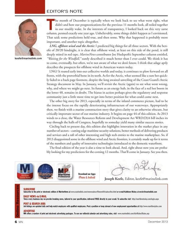 Marine News Magazine, page 6,  Dec 2013 Keefe