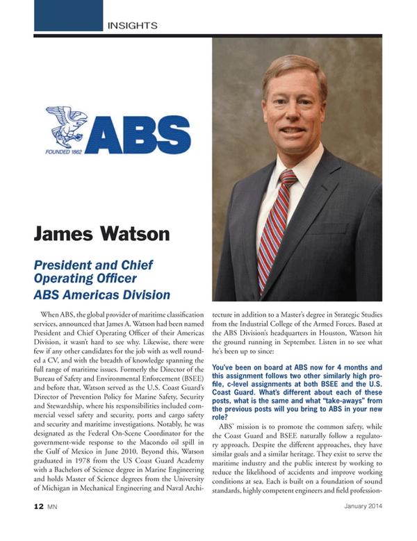 Marine News Magazine, page 12,  Jan 2014