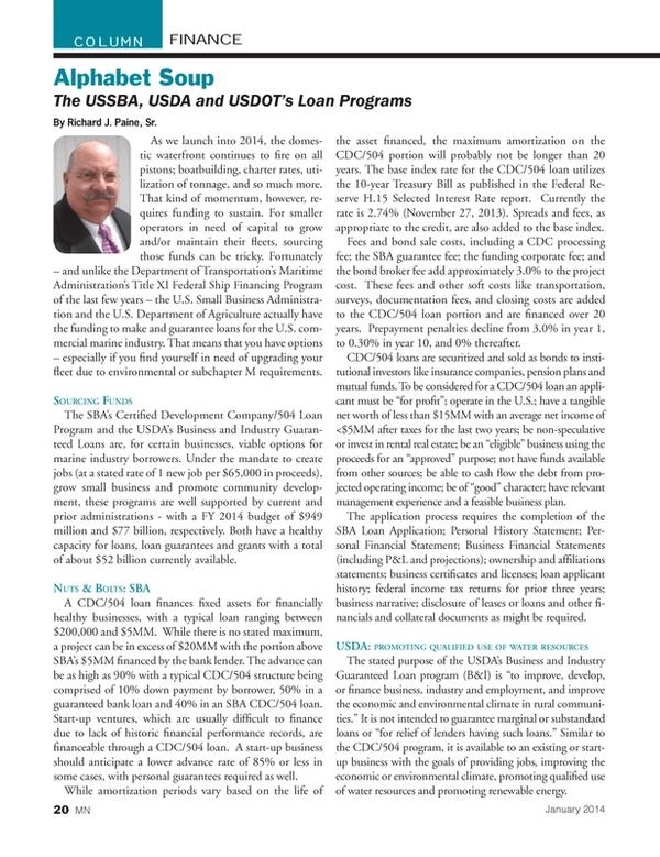 Marine News Magazine, page 20,  Jan 2014