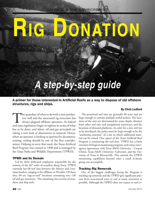 Marine News Magazine, page 40,  Jan 2014 reef site