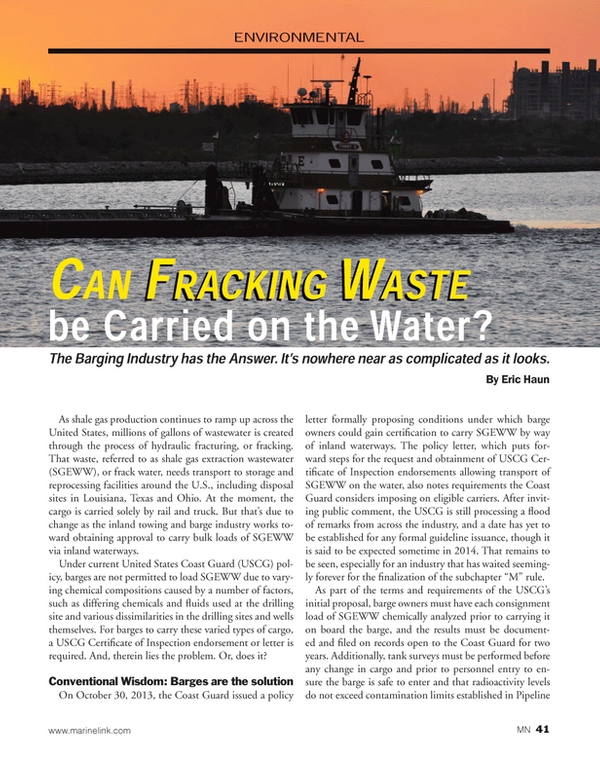Marine News Magazine, page 41,  Feb 2014 Ohio