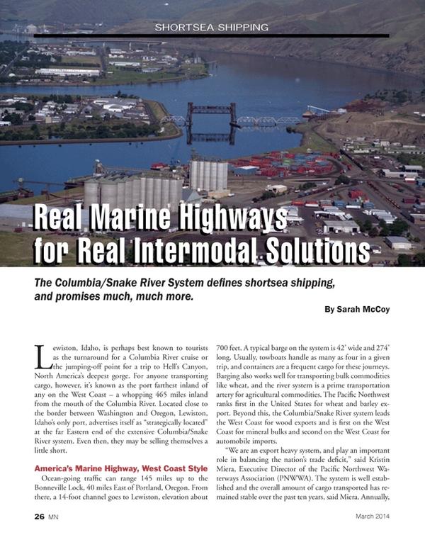 Marine News Magazine, page 26,  Mar 2014 Sarah McCoy