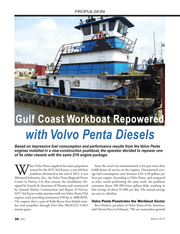 Marine News Magazine, page 36,  Mar 2014 Workboat Sector Ron Huibers