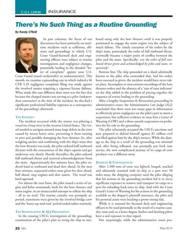 Marine News Magazine, page 22,  May 2014 United States