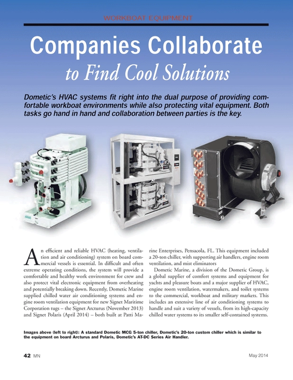 Marine News Magazine, page 42,  May 2014 air conditioning systems