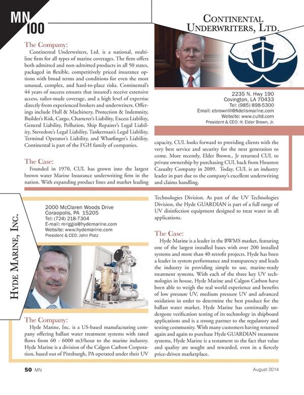 Marine News Magazine, page 50,  Aug 2014
