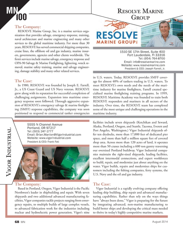 Marine News Magazine, page 68,  Aug 2014