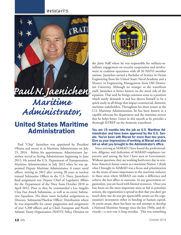 Marine News Magazine, page 12,  Oct 2014