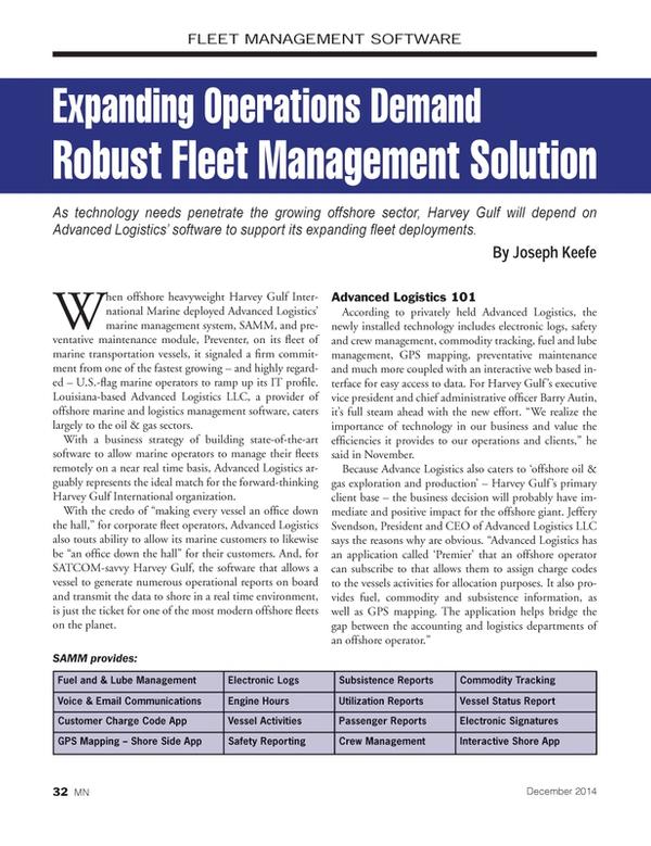 Marine News Magazine, page 32,  Dec 2014