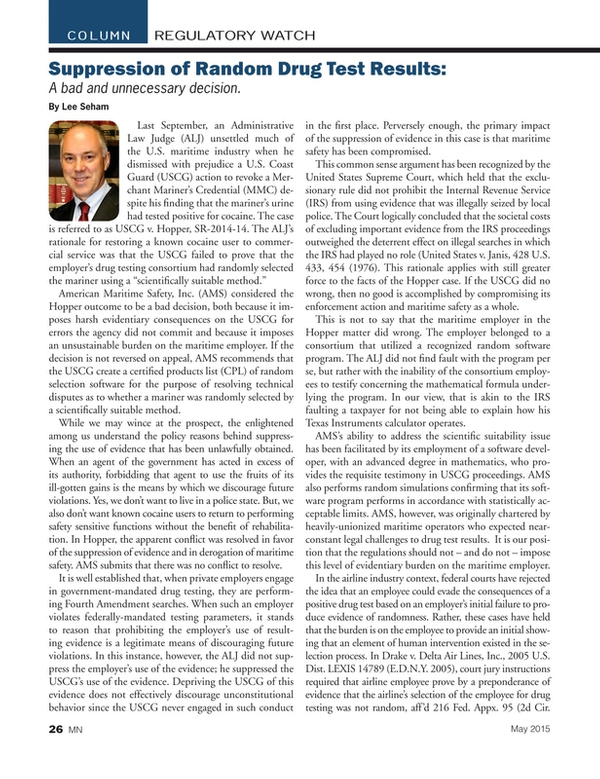 Marine News Magazine, page 26,  May 2015
