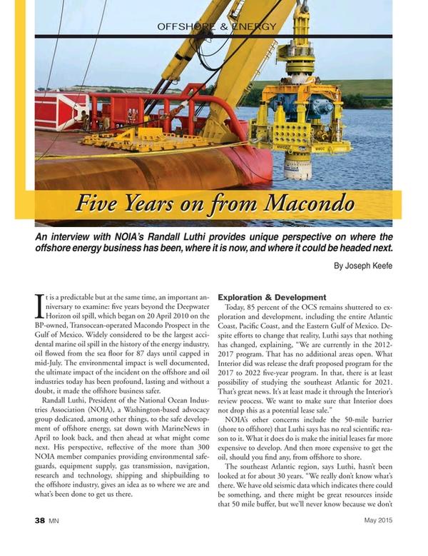 Marine News Magazine, page 38,  May 2015