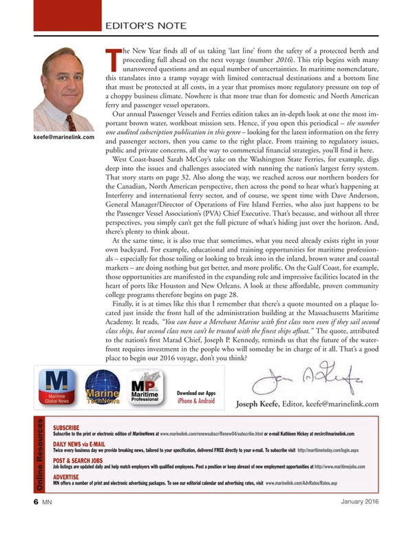 Marine News Magazine, page 6,  Jan 2016