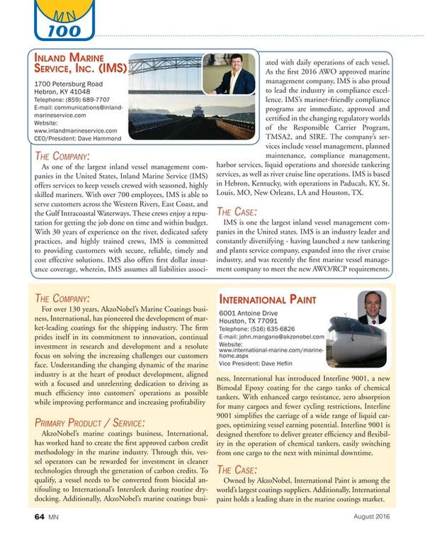 Marine News Magazine, page 64,  Aug 2016