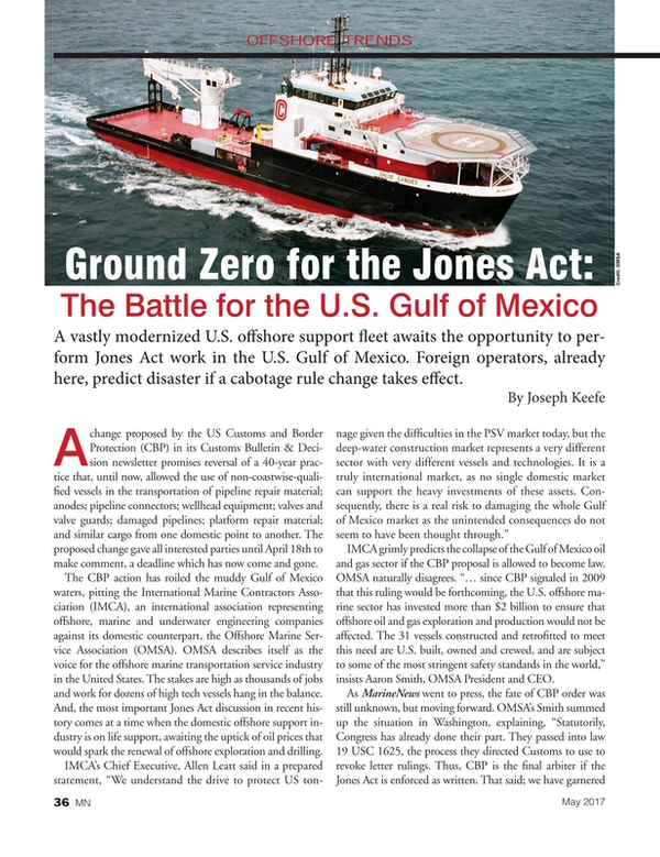 Marine News Magazine, page 36,  May 2017
