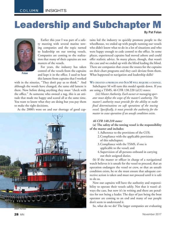 Marine News Magazine, page 28,  Nov 2017