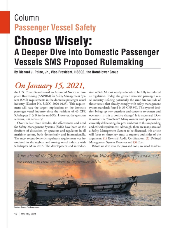 Marine News Magazine, page 18,  May 2021