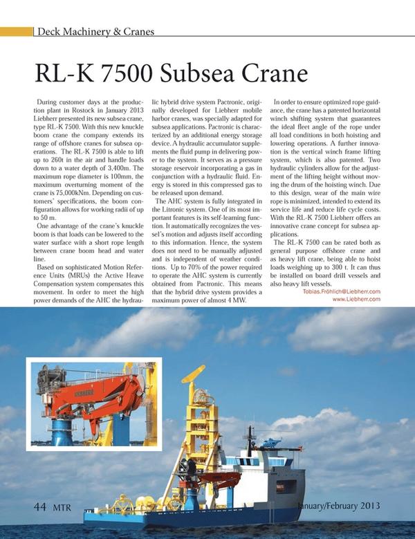 Marine Technology Magazine, page 44,  Jan 2013