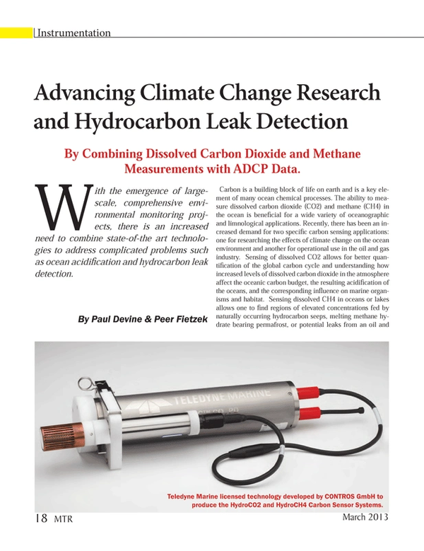 Marine Technology Magazine, page 18,  Mar 2013 carbon sensing applications