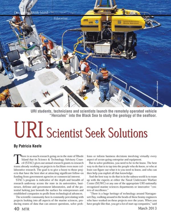 Marine Technology Magazine, page 40,  Mar 2013 Rhode Island