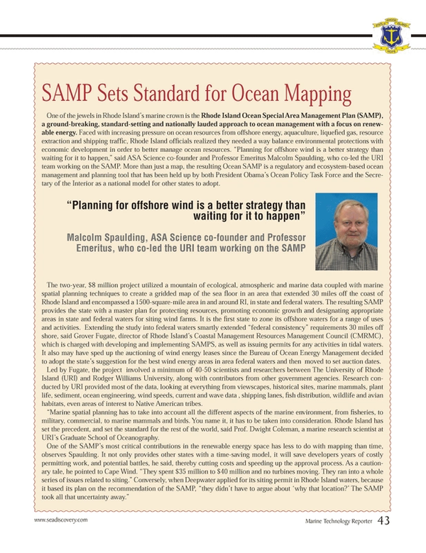 Marine Technology Magazine, page 43,  Mar 2013 Emeritus Malcolm