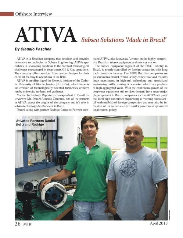 Marine Technology Magazine, page 26,  Apr 2013