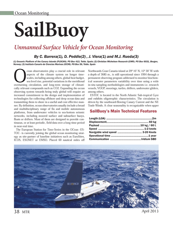 Marine Technology Magazine, page 38,  Apr 2013 Northwards Gran Canaria island