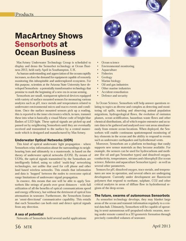 Marine Technology Magazine, page 56,  Apr 2013