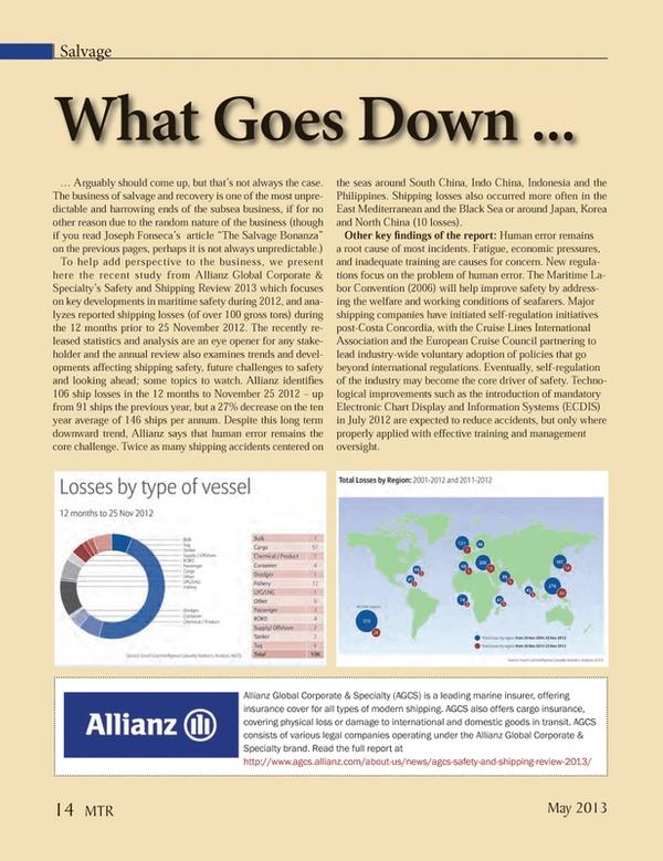 Marine Technology Magazine, page 14,  May 2013
