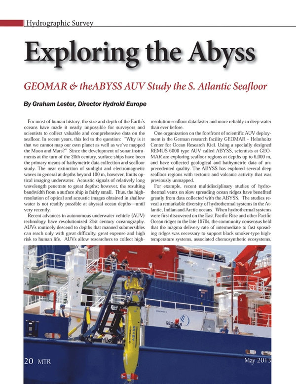 Marine Technology Magazine, page 20,  May 2013