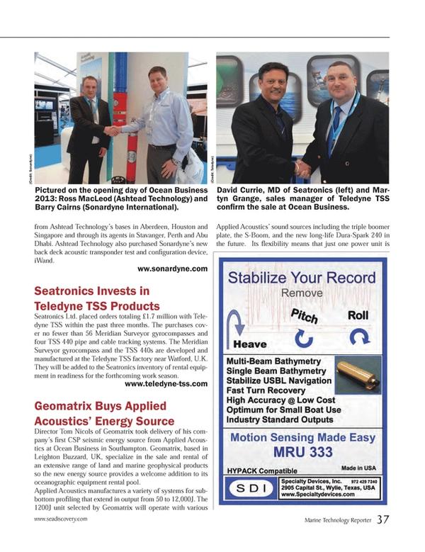Marine Technology Magazine, page 37,  May 2013