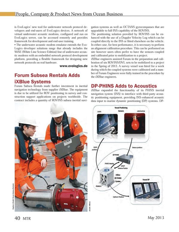 Marine Technology Magazine, page 40,  May 2013