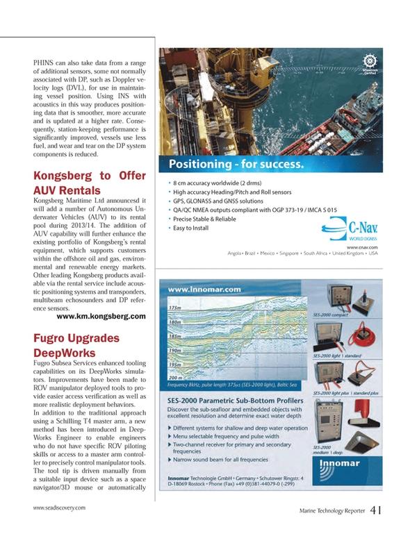 Marine Technology Magazine, page 41,  May 2013