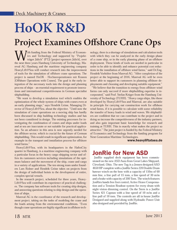 Marine Technology Magazine, page 18,  Jun 2013