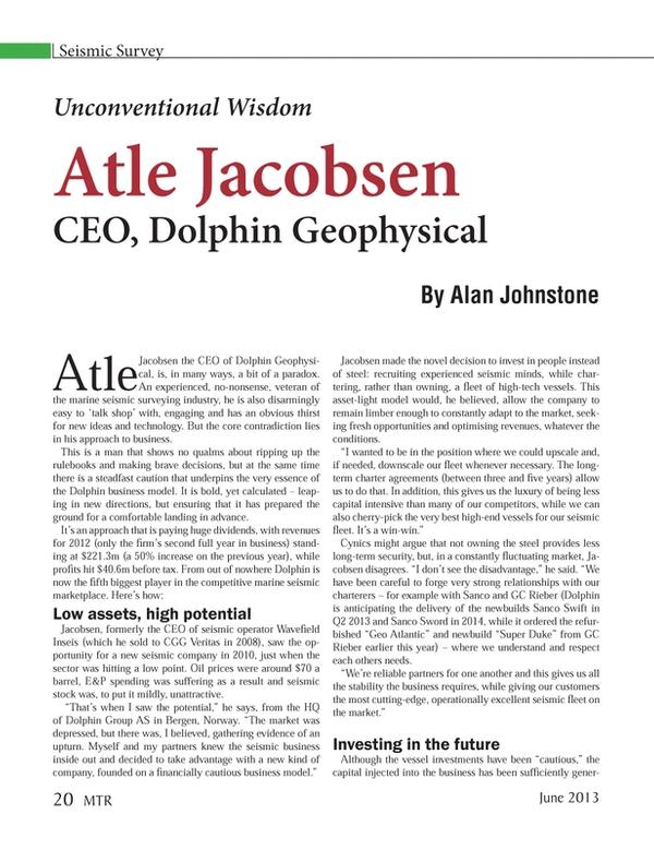 Marine Technology Magazine, page 20,  Jun 2013
