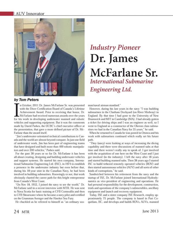 Marine Technology Magazine, page 24,  Jun 2013