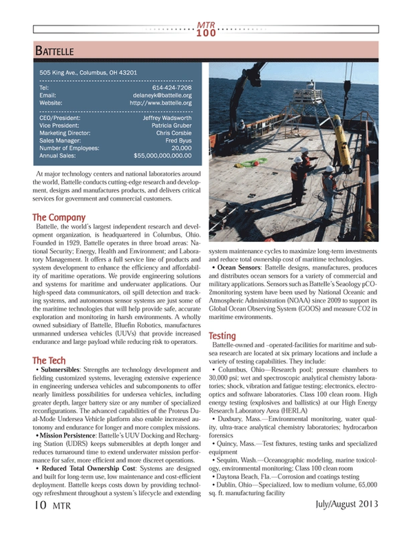 Marine Technology Magazine, page 10,  Jul 2013 Florida
