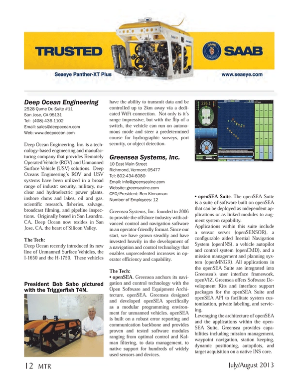 Marine Technology Magazine, page 12,  Jul 2013