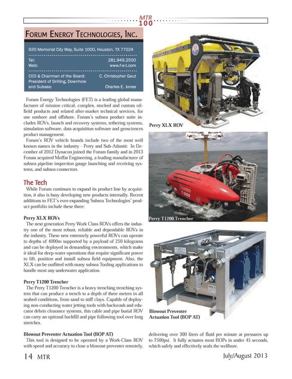 Marine Technology Magazine, page 14,  Jul 2013 Charles E. Jones