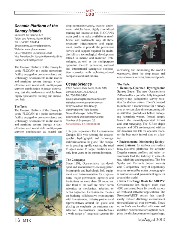 Marine Technology Magazine, page 16,  Jul 2013 California
