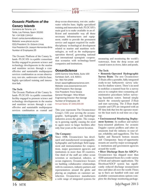 Marine Technology Magazine, page 16,  Jul 2013