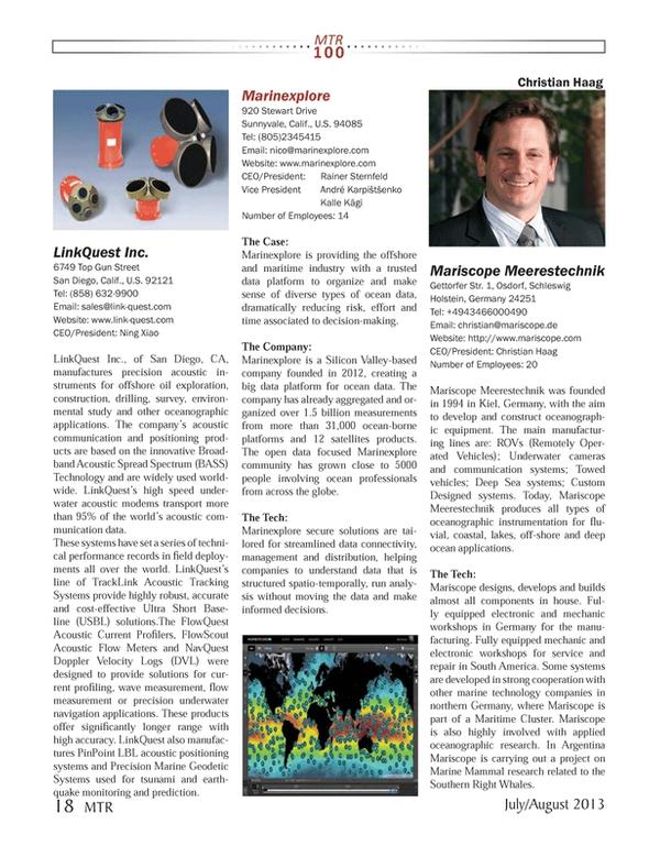 Marine Technology Magazine, page 18,  Jul 2013 Christian Haag