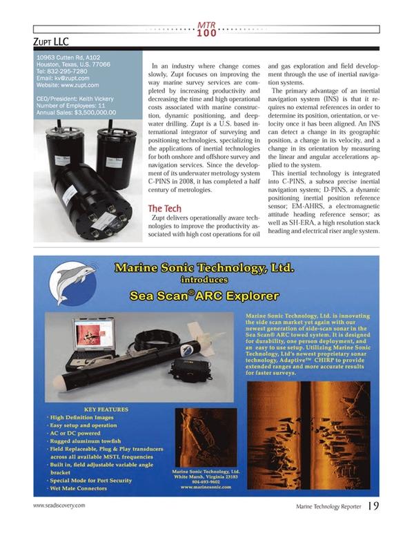 Marine Technology Magazine, page 19,  Jul 2013