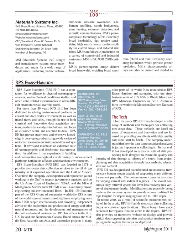 Marine Technology Magazine, page 20,  Jul 2013 Rhode Island