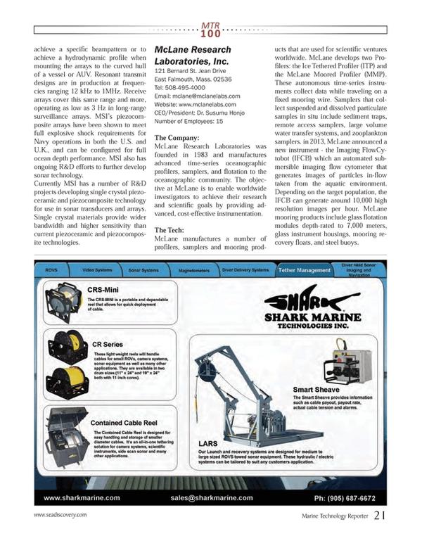 Marine Technology Magazine, page 21,  Jul 2013 sonar technology