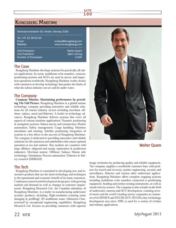 Marine Technology Magazine, page 22,  Jul 2013 Company Company Mission