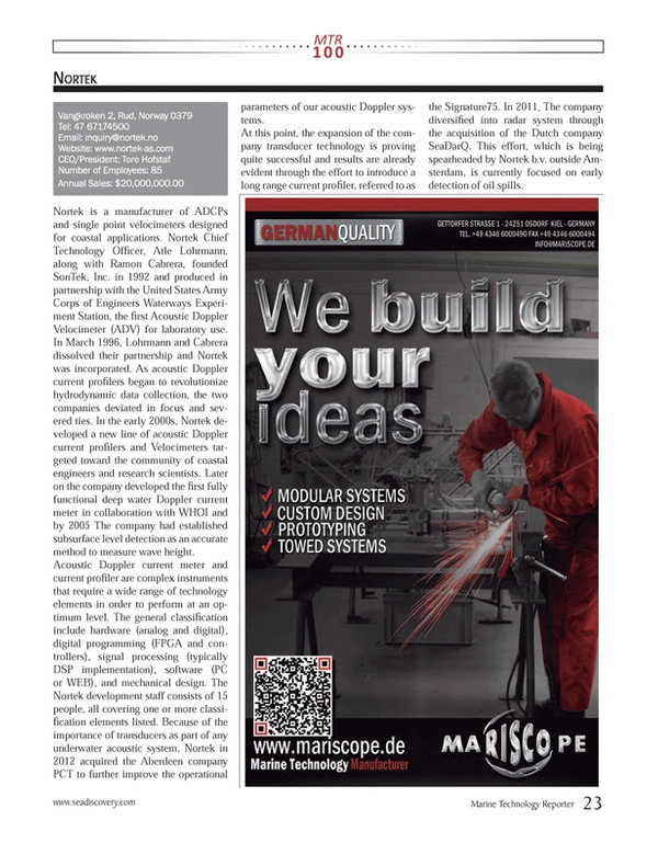 Marine Technology Magazine, page 23,  Jul 2013
